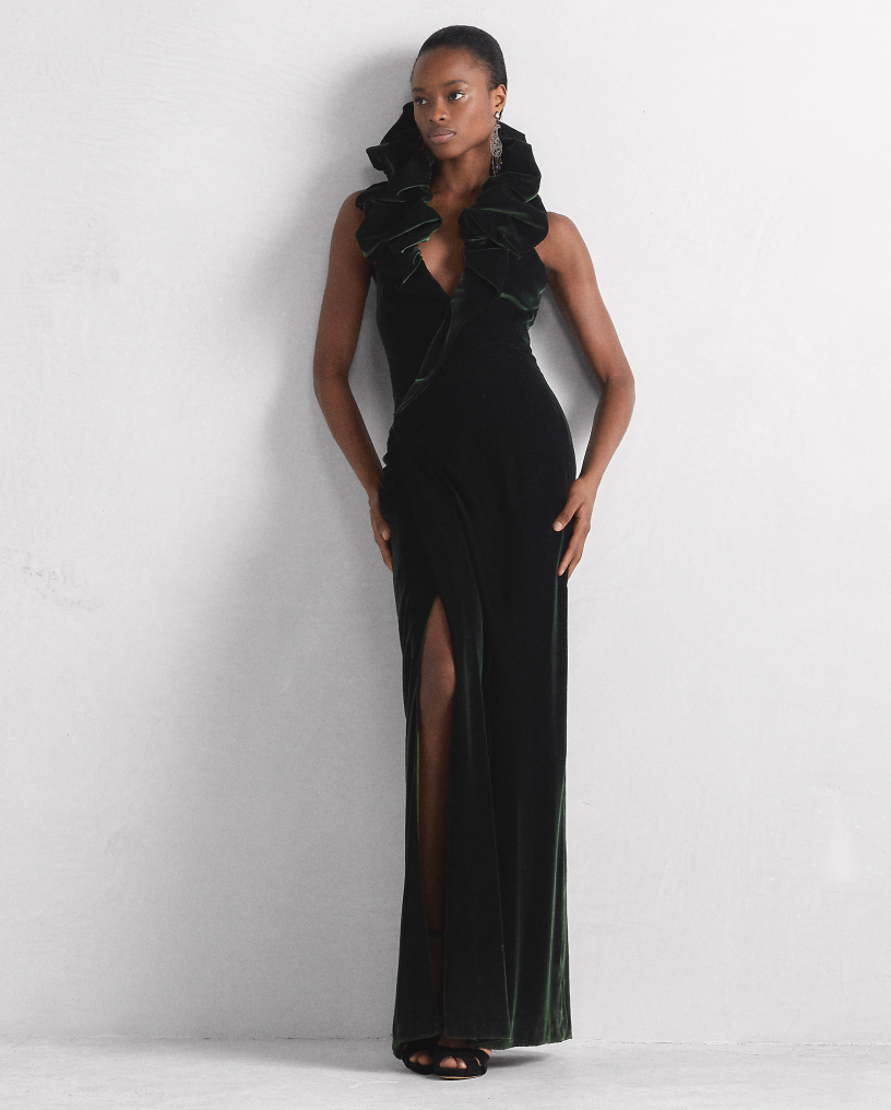 Amina Velvet Evening Dress