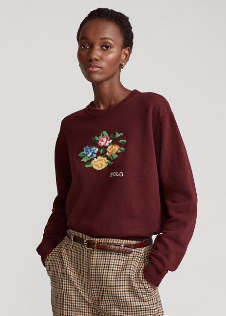 Ralph Lauren Floral Embroidery Fleece Sweatshirt