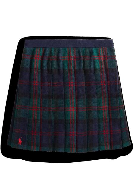 Ralph Lauren Plaid Pleated Knit Skirt
