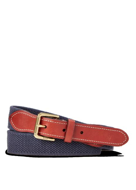 Ralph Lauren Leather-Trim Cotton Belt