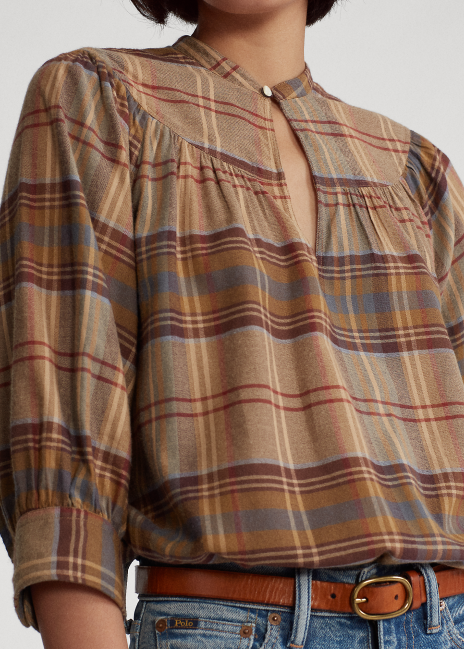 Ralph Lauren Plaid Keyhole Shirt