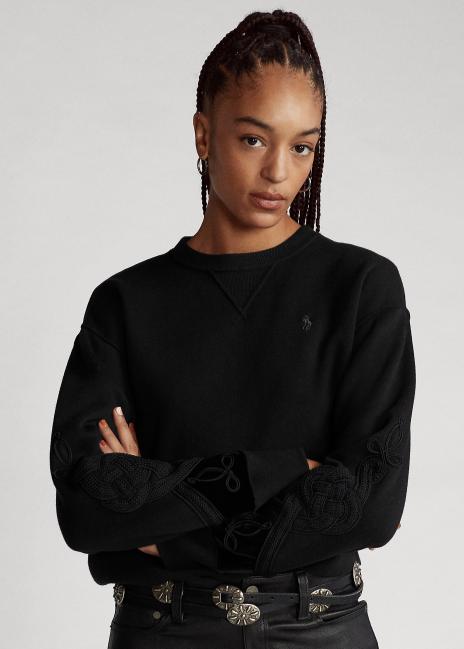 Ralph Lauren Soutache-Trim Fleece Sweatshirt