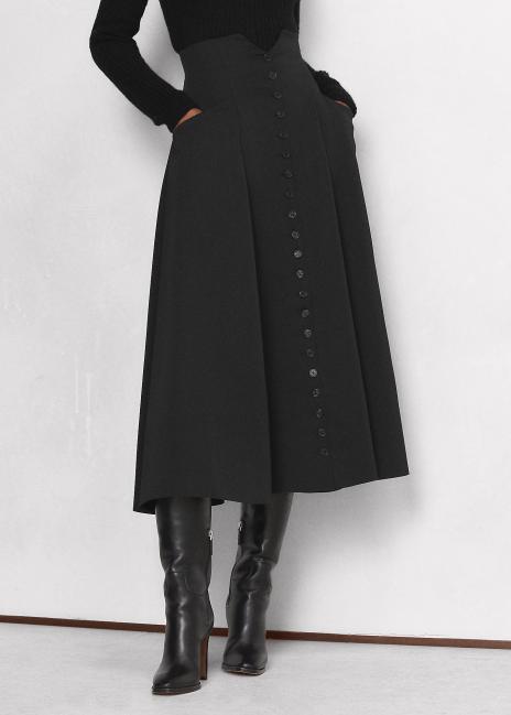 Ralph Lauren Callahan Wool Crepe Gabardine Skirt