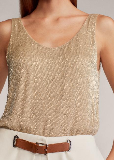Ralph Lauren Chy Embellished Silk Tank