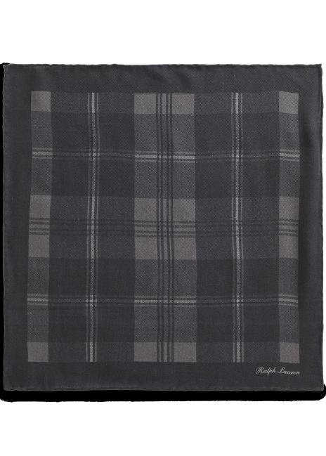 Ralph Lauren Plaid Cashmere-Silk Pocket Square