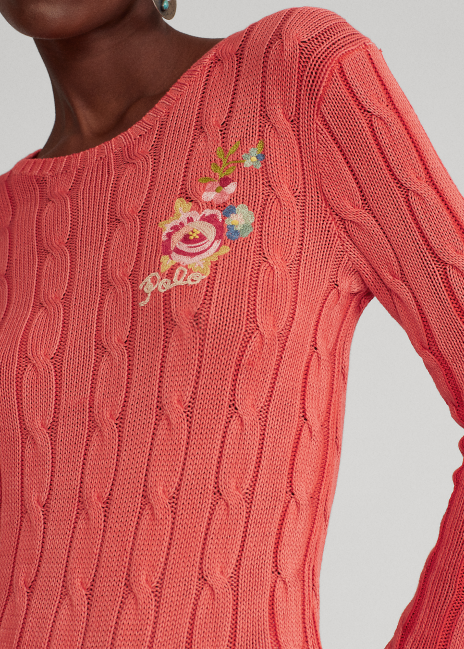 Ralph Lauren Cable-Knit Embroidery Sweater