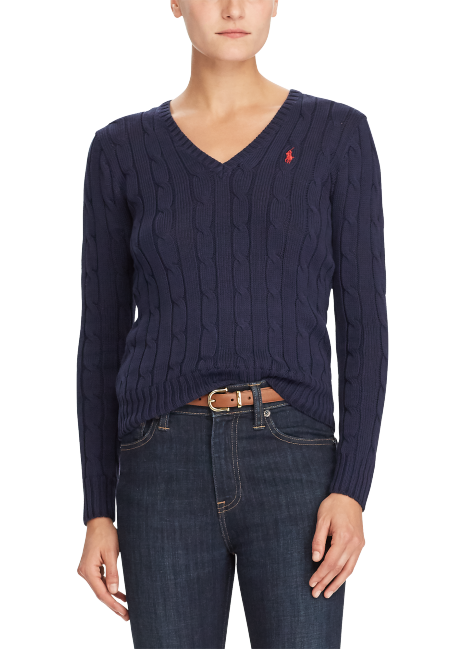 Ralph Lauren Cable-Knit V-Neck Sweater