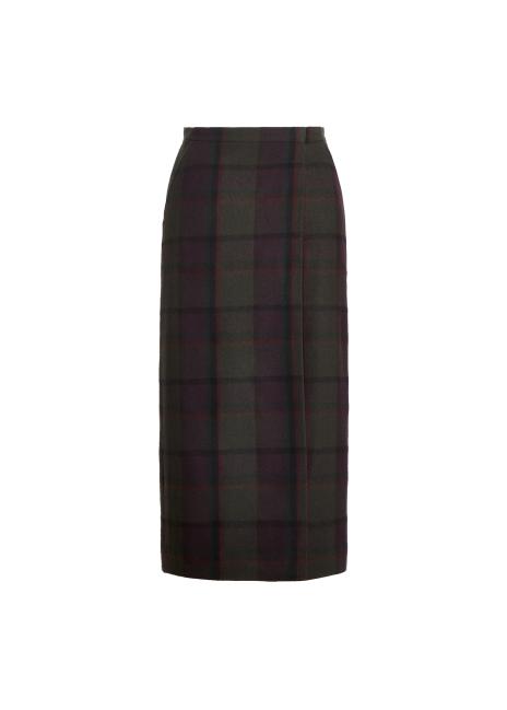 Ralph Lauren Dasha Plaid Lambswool-Cashmere Skirt