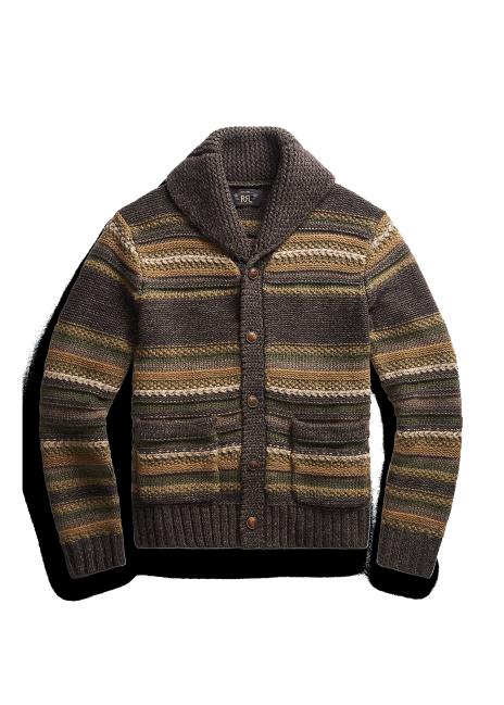 Ralph Lauren Striped Mixed-Knit Cardigan