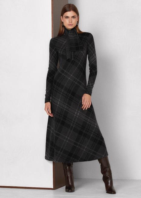 Ralph Lauren Plaid Cashmere Knit Tie-Neck Dress
