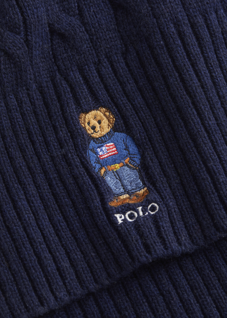 Ralph Lauren Polo Bear Cable-Knit Scarf