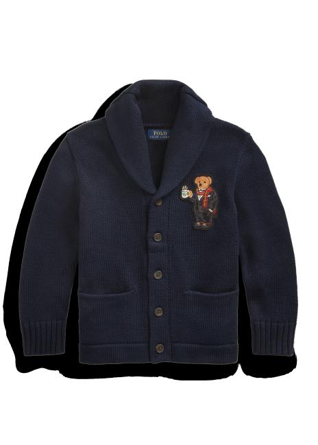 Ralph Lauren Coffee Bear Cotton Cardigan
