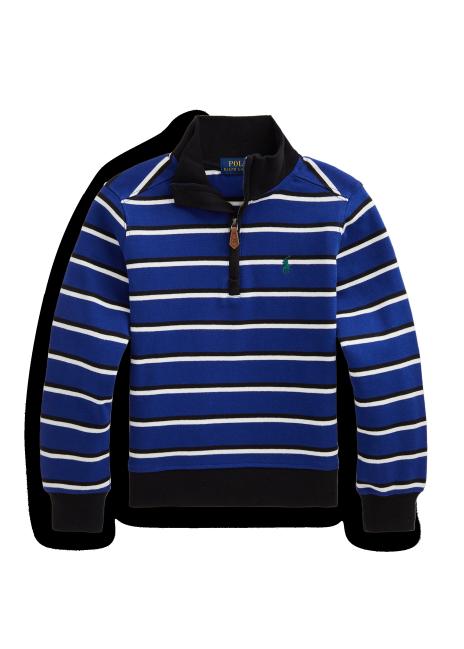Ralph Lauren Striped Cotton Quarter-Zip Pullover