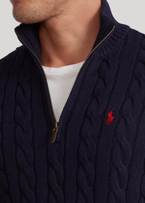 Ralph Lauren Cable-Knit Cotton Quarter-Zip Sweater