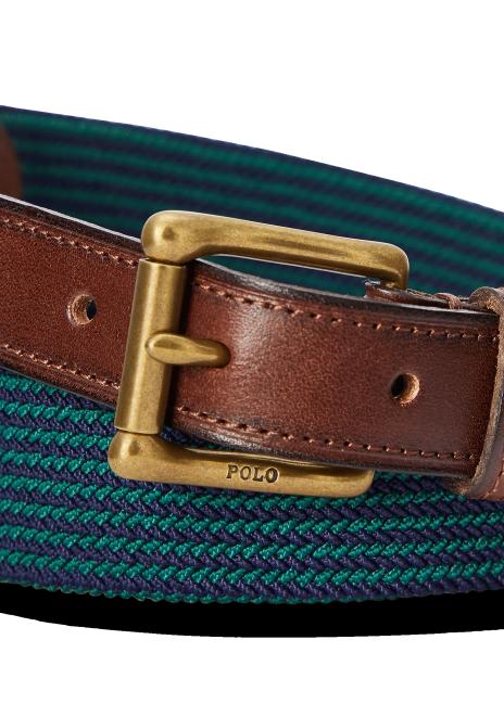 Ralph Lauren Leather-Trimmed Stretch Woven Belt
