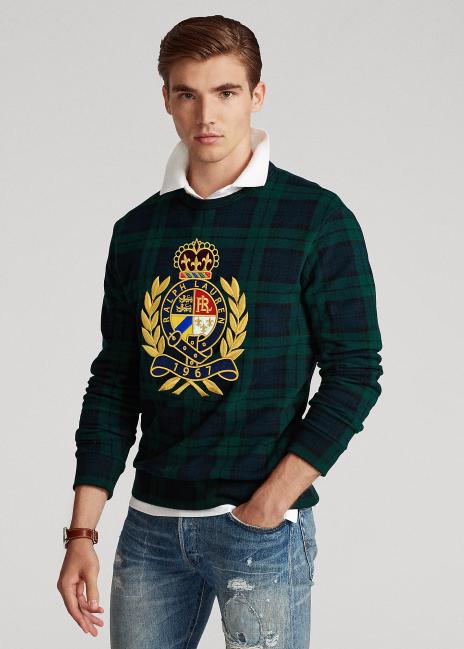 Ralph Lauren Crest Tartan-Print Fleece Sweatshirt