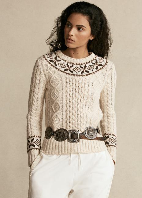 Ralph Lauren Fair Isle Aran-Knit Sweater