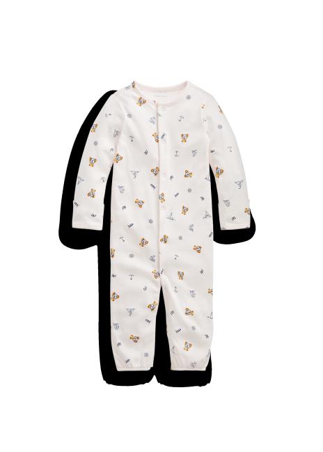 Ralph Lauren Bear-Print Convertible Gown Coverall