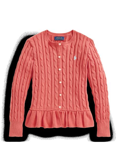 Ralph Lauren Cable-Knit Cotton Peplum Cardigan