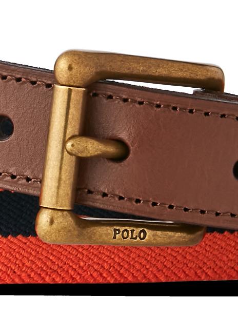 Ralph Lauren Leather-Trim Stretch Belt