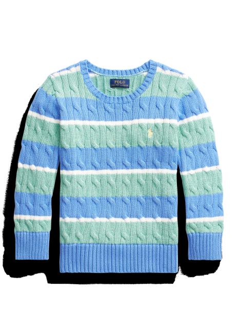 Ralph Lauren Striped Cable-Knit Cotton Sweater