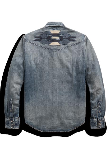 Ralph Lauren Slim Fit Embroidered Denim Western Shirt